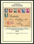 1935 Registered and postally used cover franked with a complete set of the Schutz, Bach and Handel issue and the Eisenbahn issue on the latter's first day of issue
