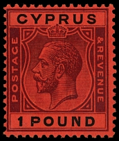 Cyprus, 1924-28, King George V, £1 violet and black on red paper