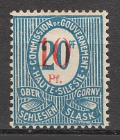 1920 Germany Joining of Silesia 10 Pf (Broken `0`, Print Error)