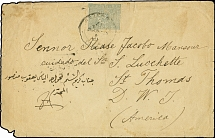 HOLY LAND: 1894, Cover franked with 1892, 1 pia. grey, tied by Jerusalem cds.,