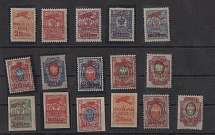1923. AN OLD FAKE. Airmail surcharge stamps. Vladivostok 1923 20 kopecks 15 stamps + 1 inversion. Already rarely found
