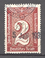 1930-40 Third Reich Fiscal Tax Revenue Stamps Swastika 2 Rm (Cancelled)
