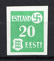 1941 20pf Occupation of Estonia, Germany (Mi. 2yU, IMPERFORATED, CV $200, MNH)