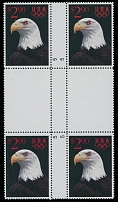 1991, White Headed Eagle, perforated proof of $2.90 multicolored in complete design, cross-gutter block of four, full OG, NH