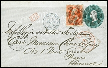 1873, Stanton 7 c. vermillion on advertising stationery envelope 3 c. green,