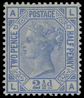 Great Britain, 1881, Queen Victoria 2½p ultramarine, plate 23 wmk Imperial Crown