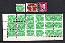 1942-44 Mail Fieldpost, Germany (Part of Sheet, Control Number `1586`, Full Sets, MNH/MH)
