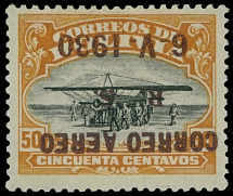 Bolivia 1930, Zeppelin issue, inverted brown overprint on 50c orange and black