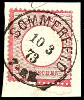 1 Gr. Carmine, large shield, with part of lower margin on letter piece,