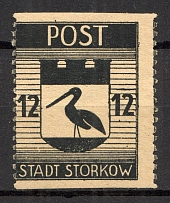 1945 Storkow Germany Local Post 12 Pf (Shifted+Missed Perf, CV $65, MNH)