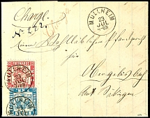 7 Kr. Blue along with 3 KR. Rose red as properly franked mixed franking in