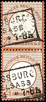 2 1/2 Gr. Brown, having bright colors vertical pair, upper stamp in the a