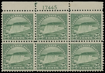 1922, Niagara Falls, 25c yellow green, top sheet margin plate No. 17445 block of six, full OG (slightly disturbed at margin only), NH