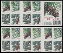 2010, Christmas issue, Coniferous, ''Forever'' multicolored, self-adhesive booklet pane of eight values with die cutting omitted (reversal pane of 12 is normal), VF