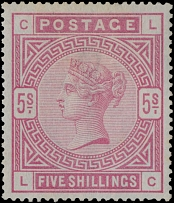 Great Britain, 1884, Queen Victoria, 5s rose, bluish paper, watermark Anchor