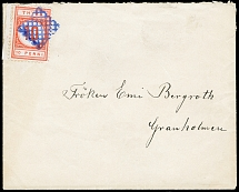 1884, 10 penni dull vermilion with left sheet margin, with blue grid-cancel on