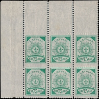 Latvia 1920, Arms, 75k emeraldon wove paper, block of 6 with perf error
