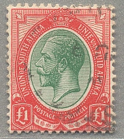 1913, 1 £, green and red, lightly cancelled, XF! Estimate 400€.  Automatisch gen