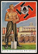 1938 Reich party rally of the NSDAP in Nuremberg. Barechested Labor Corps man with flag on the Zeppelin Field RARE card