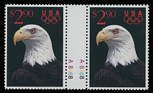 1991, White Headed Eagle, perforated proof of $2.90 multicolored in complete design, horizontal pair with gutter in the middle, full OG, NH