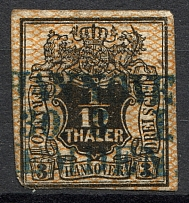 1856-57 Hanover Germany 1/10 Th (CV $90, Cancelled)