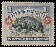 Liberia - Official stamps, 1894, Hippopotamus, red overprint in capital letters