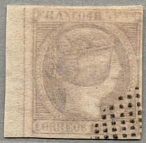 1854, 1 r., ultramarine, faded colour, lightly cancelled, left side margin