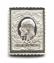 1904 Great Britain 6 P (Sterling Silver Miniature, Greatest Stamps of The World)