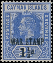 Cayman Islands, WAR TAX STAMP: 1917, King George V, black