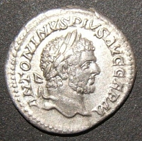 Ancient Roman silver Denarius coin of Caracalla Augustus ANTONINVS PIVS AVG GERM