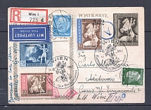 1942 Third Reich registered airmail cover Milan with special postmark returned to sender