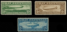 United States 1930, Zeppelin issue, complete set of 3, NH