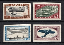1933 Latvia Airmail (Mi. 228 B - 231 B, Imperforated, Full Set, CV $300, MNH/MLH)