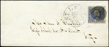 1869, Washington 6 c. blue, tied by cork cancel to small envelope from