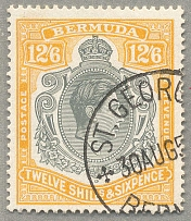 1947, 12 s. 6 d., grey and yellow, neatly cancelled, ST. GEORGE, wmk multi scrip